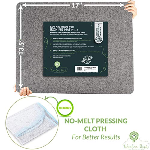 Wool Ironing Pad for Quilters | 100% New Zealand Wool Ironing Board | Heat Transfer Easy Press Ironing Mat | Must-Have Quilting Supply at 17 x 13.5 x ½ by Woolen Park