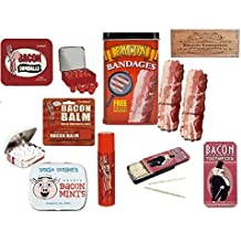 Bacon Candy Gift Set Gag Bag- 5 piece set, Bacon sizzling bandages, bacon lip balm, bacon gumballs, bacon mints & bacon toothpicks. By Kinayto Enterprises