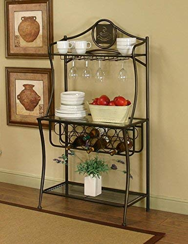 Maxwell Bakers Rack in Antique Bronze with Glass Shelves and Wine and Glass Storage