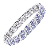 16 ct Natural Tanzanite & White Topaz Link TennisBracelet in Sterling Silver