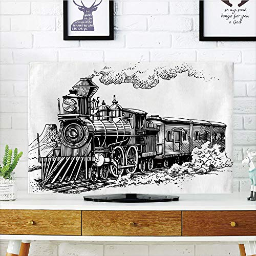 - LCD TV Cover Lovely,Steam Engine,Rustic Old Train in Country Locomotive Wooden Wagons Rail Road with Smoke,Black and White,Diversified Design Compatible 47