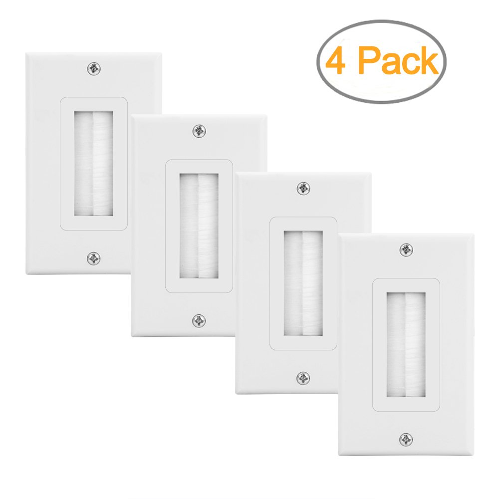 Zexmte Brush Wall Plate Cable Pass Through Insert for Wires,Single Gang Decorative Style Cable Wall Plate Port,Works with AV,HDMI,Home Theater,White (4pack)