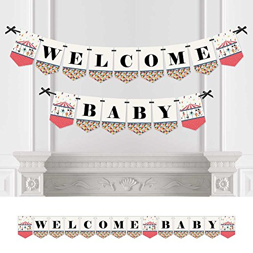 Big Dot of Happiness Carnival Circus - Cirque du Bebe - Baby Shower Bunting Banner - Circus Party Decorations - Welcome Baby