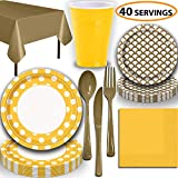 Disposable Tableware, 40 Sets - Sunflower Yellow and Gold - Dotted Dinner Plates, Scallop Dessert Plates, Cups, Lunch Napkins, Cutlery, and Tablecloths: Premium Quality Party Supplies Set