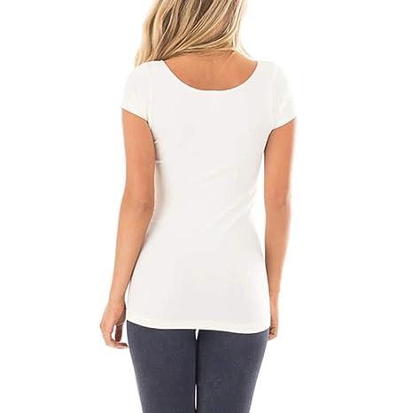 Camisa de Manga Corta Casual Pura para Mujer Camisa básica Color sólido para el hogar Chaleco Parte Posterior Atractiva Camiseta Costura Tanque Tops ...
