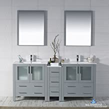 "BLOSSOM 001-72-15-D Sydney 72"" Double Vanity Set with Mirrors Metal Gray"