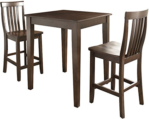 (Crosley Furniture KD320007MA 3-Piece Pub Set with Tapered Leg Table and Schoolhouse Stools, Vintage Mahogany)
