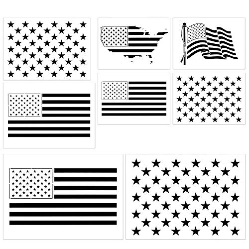 - Stencils of The United States Flag, 8 Pcs Multi-Sizes 50 Stars and 13 Stripes Template USA Map for Journal, Wood, Paper, Fabric, Glass, and Wall Art Graffiti Drawing Painting