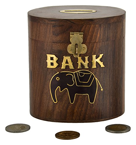 SAAGA Wooden Money Bank with Coin Slot Elephant Design / Handmade : 4.5×3.5×4.5 inches (LxBxH)