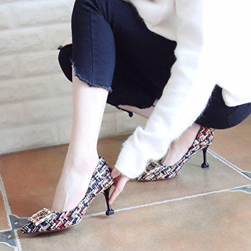 Xue Qiqi Pumps Fein mit High Heels Mode Buchstabiere Farbe Weibliche Schuhe Tipp im Licht der Einzigen Schuhe Frauen Schuhe zu Binden37|Schwarzes Gold