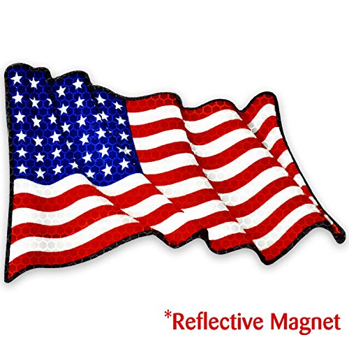 Bigtime Signs Reflective American Flag Magnet for Car - Patriotic Waving USA Flag Magnetic for Auto, Truck, Vehicle - 9.5 inch x 6 inch for Military, Memorial Day, Patriots, Veterans Day, 4th of July