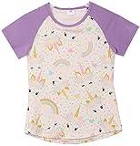 Little Girl Kids Short Sleeve Unicorn Rainbow Polka Dot Tee T-Shirt Top Lilac 3T S 201344