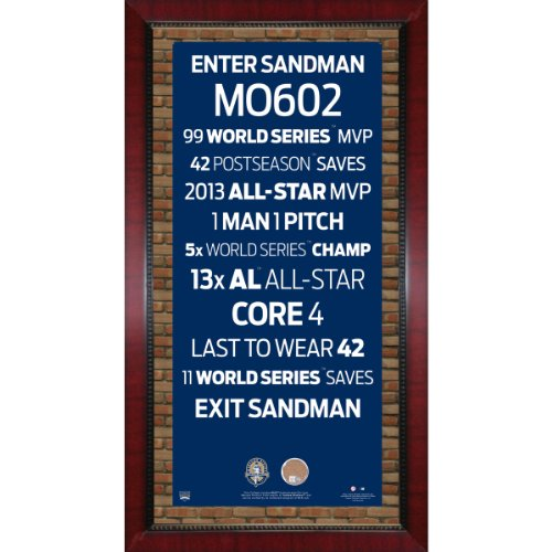 MLB New York Yankees Mariano Rivera Retirement Subway Sign with Game Used Dirt Framed 16x32-Inch