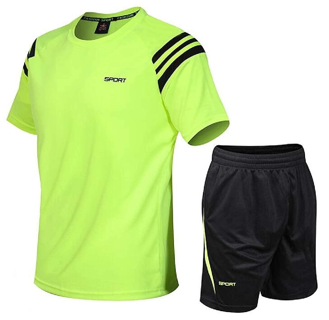 Spirio Mens T-Shirts Quick-Dry and Sports 2 Pieces Shorts Tracksuit Set