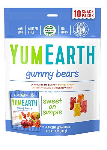 YumEarth Gummy Bears, Assorted Flavors, 10 Snack Packs Per Bag (Pack of (Top 10 Candy For Halloween)
