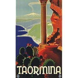 "TAORMINA SICILY VOLCANO TOURISM EUROPE ITALY ITALIA 10"" X 16"" VINTAGE POSTER REPRO"