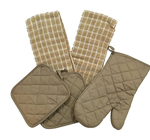 Towel Pot Holder Mitt (Kitchen Linen Set (Includes: one oven mitt, two pot holders and two dish towels) (Tan & White))