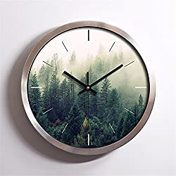 EXDJ 12 stainless steel Round Wall Clock Creative Fashion Quartz Clock Bedroom Living Room Simple Clock,Silver