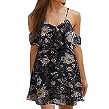 Kstare Women Floral Print Knee Dresses Off Shoulder Summer Length Beach Casual Evening Loose Party Ladies Short Mini Dress (L2, Black)