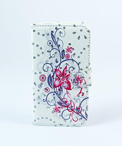 iPhone 5G Case Flip Cover Etui Tasche Hülle Blumen strass pink lila
