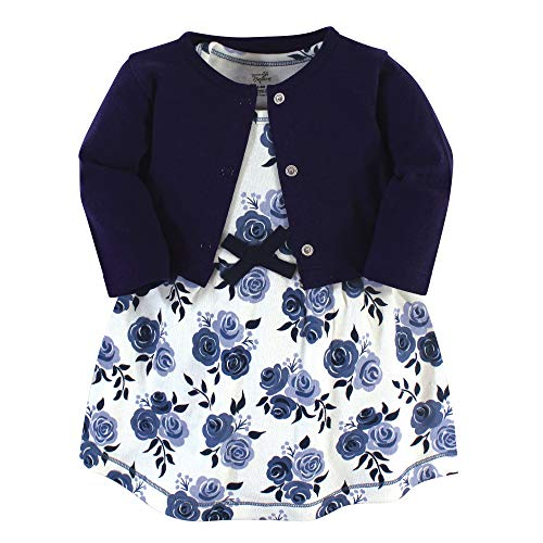 Touched by Nature Girl Organic Cotton Cardigan and Dress, Navy Floral 2-Piece, 3-6 Months (6M) (4 Dress Size Blue)