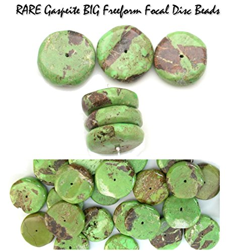 Rare Genuine Gaspeite Big Freeform Focal Disc Beads - Focal Set of 3 Beads for Jewelry Making