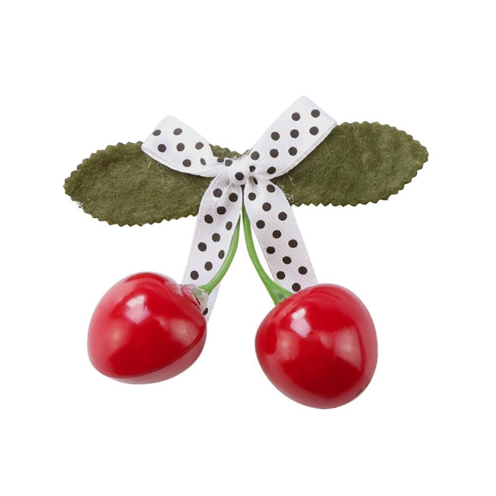 Efaster Children's Girls Three-dimensional Cherry Bow Hairpin Headwear (A)