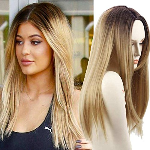 Netgo Blonde Ombre Wigs Long Straight Synthetic Full Wigs Ombre for Women with Cap (Dark Blonde Wig)