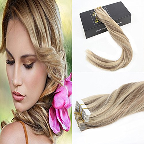 Sunny Dark Ash Blonde #16 with Golden Blonde Highlight Tape In Hair Extensions Brazilian Remy Human Hair Tape In Extensions 16inch 20pc 50g Ash Blonde Base