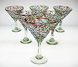 Mexican Glass Martini Pebble or Bumpy Confetti (6)