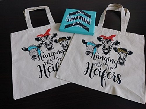 Graphic Design Tote Hanging with the Heifers with Rhinestones Bandanna's, Nicole Cotton Canvas Natural Color Tote Bag