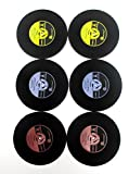 FASHION ALICE 6PCS Vintage Vinyl Record Coasters, Cup Mat(drink Coaster for wine, beer, hot and cold drinks), including Key Ring Bottle Opener
