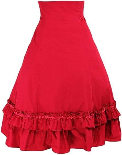 Antaina Roja Encaje Volantes Alta Cintura Vintage Victoriana Sweet ...