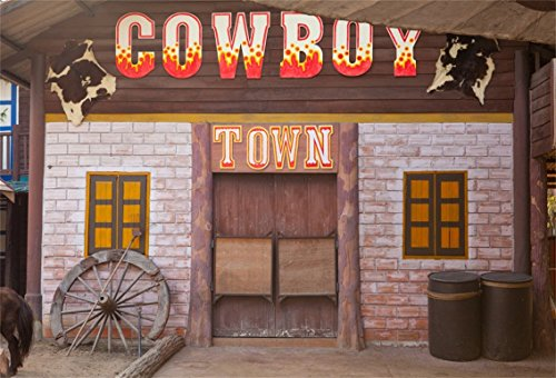 CSFOTO 5x3ft Background for Cowboy Town Western Photography Backdrop Nostalgia House Abandoned Wood Wheel Fur Retro Bar West Tavern Adult Kid Child Portrait Photo Studio Props Polyester (15 Children That Have Won Halloween)
