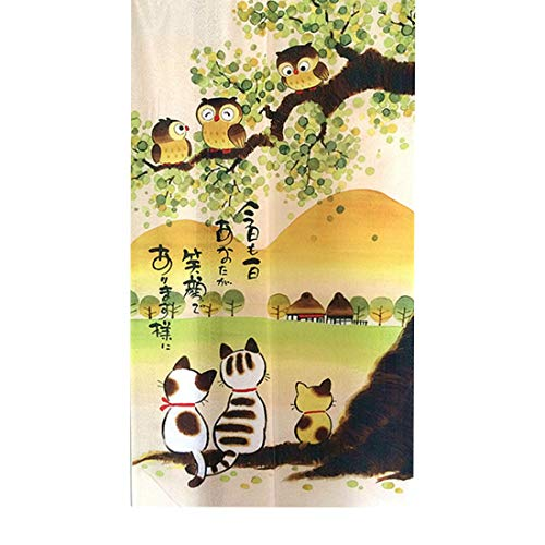 LIGICKY Japanese Style Noren Long Doorway Curtain Door Tapestry for Home Decoration 33.5 x 59 inch (Owls & Cats & Mountain) (Japanese Decorations For Home)