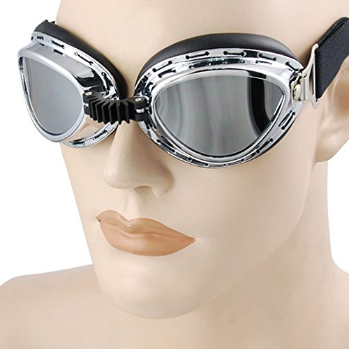Cyberpunk Costumes (Steampunk Cyber Punk Goth Style Aviator Pilot Mini Size Chrome Plated Frame Reflective Lens Elastic Strap Padded Frost UV Goggles Eyewear Sunglasses Costume Helmet Trim Decorative Mask Tactical Gear)