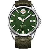 BUREI Men's Date Luminous Military Watch with Green Interchangeable Canvas Band