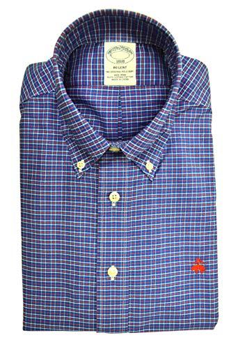 Brooks Brothers Men's Plaid Regent Fit Supima Cotton Button Down Shirt Blue Red White (Large)