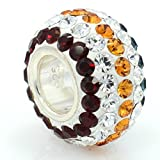"Pro Jewelry .925 Sterling Silver ""Turquoise, Garnet Red, & Amber Topaz Striped"" Crystal Charm Bead for Snake Chain Charm Bracelet"