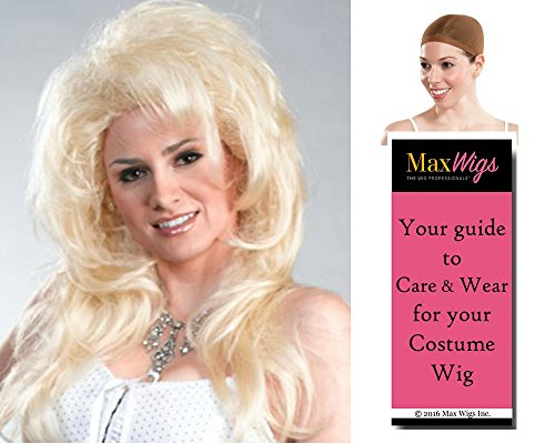 - New Dolly Parton color BLONDE - Enigma Wigs Wynonna Judd Country Singer Big Hair 1990s Party Bundle with Cap, MaxWigs Costume Wig Care Guide