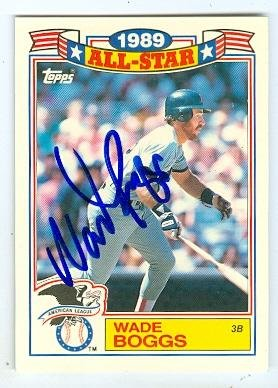 Wade Boggs autographed baseball card (Boston Red Sox) 198...