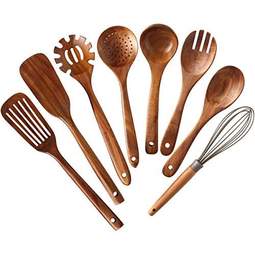 Wooden Kitchen Utensils set,NAYAHOSE Wooden Spoons for cooking Natural Teak Wood Kitchen Spatula Set for Cooking…