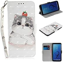 Galaxy S9 Plus Case, ZERMU 3D Painted Pattern Premium PU Leather Shockproof Kickstand Flip Folio Wallet Case with Card Holder ID Slot and Hand Strap Magnetic Closure Case for Samsung Galaxy S9 Plus