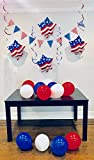 4th of July Patriotic American Flag Party Decorations Bulk Includes Include Pennant Flags 8ft, 6 Swirl Decorations, 12 Latex Balloons, 4 Foil Balloons - By PartyEssentials