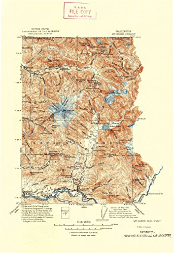 - YellowMaps Mt Baker Dist WA topo map, 1:250000 Scale, 30 X 30 Minute, Historical, 1915, Updated 1947, 13.3 x 9.1 in - Tyvek