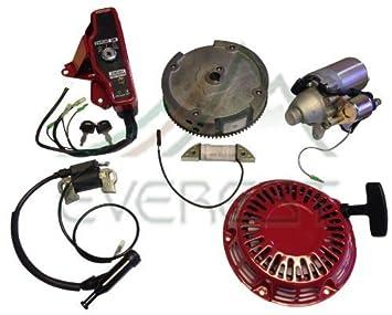 NUEVO Honda GX160 GX200 y de la 5.5HP 6.5HP Electric Motor de arranque Kit con volante de Recoil Bobina de encendido Interruptor de encendido Teclas de caja ...