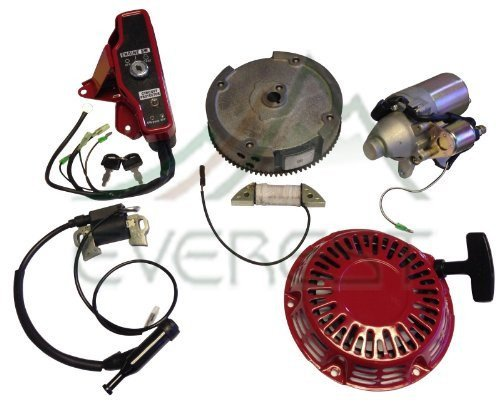 Electric Starter Motor Kit Compatible with Honda Gx160 5.5hp & GX200 6.5hp w/Recoil Ignition Coil Flywheel Ignition Switch Box with Keys ()