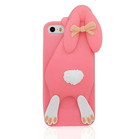 best service c8b16 c8be4 iPhone 5 Case,TingTang 3D Cartoon Cute Soft Buck Teeth Rabbit Bunny  Silicone Back Phone Cover Case for Apple iPhone 5 5S 5C Pink