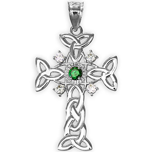 Cross White Gold Celtic Bracelets - 925 Sterling Silver Trinity Knot Diamond Celtic Cross Pendant with Genuine Emerald