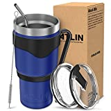 Atlin Tumbler [30 oz. Double Wall Stainless Steel Vacuum Insulation] - Cobalt Travel Mug [Crystal Clear Lid] Water Coffee Cup [Straw + Handle Included]For Home, Office, School, Ice Drink,Hot Beverage
